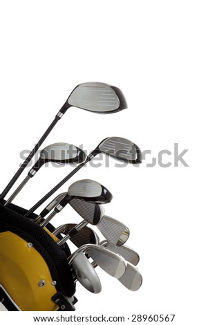A set of new golf clubs on a white background with copy space - stock photo