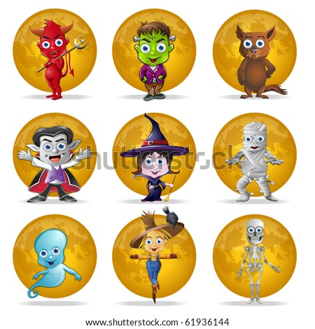 A set of nine Halloween characters in front of a full moon