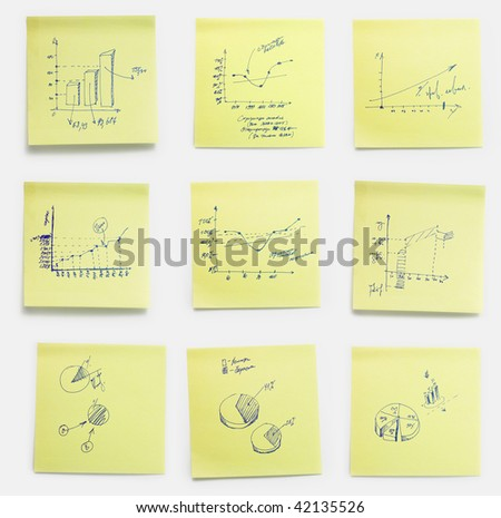 A set of office/work related yellow paper post-it notes with abstract working diagrams, work-plans, schedules, charts. Isolated on white background, clipping path included. - stock photo