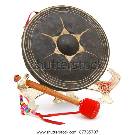 A set of oldest musical gong - stock photo