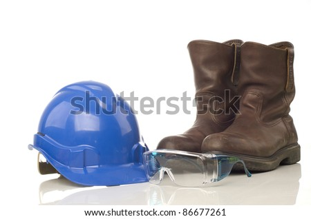 A set of personal protective equipment for industrial use - stock photo