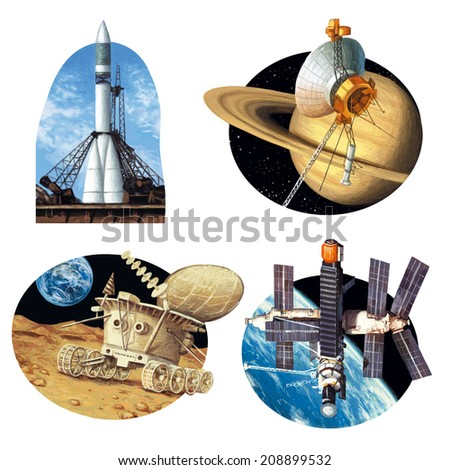 A set of pictures of spacecrafts - stock photo