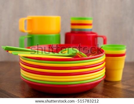 A set of plastic dishes for a picnic. A set of plastic tableware in different & Set Plastic Dishes Picnic Set Plastic Stock Photo (Safe to Use ...