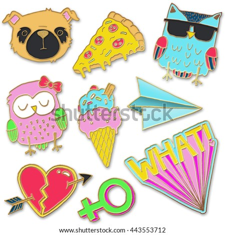 A set of realistic enamel pin badges - stock photo