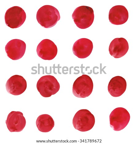 a set of red spots on a white background