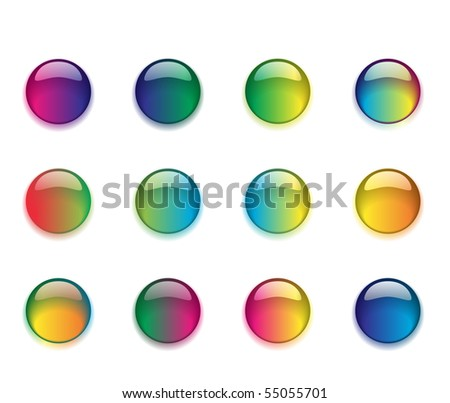 A set of round colored buttons. - stock photo
