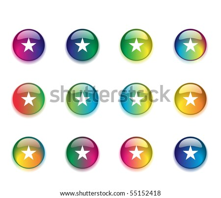 A set of round colored buttons with a star on each on a white background. - stock photo