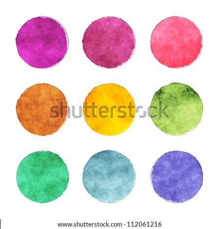 A set of round watercolor stains with contour - stock photo
