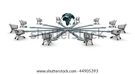 A set of shopping carts around a globe as concept for ecommerce - stock photo