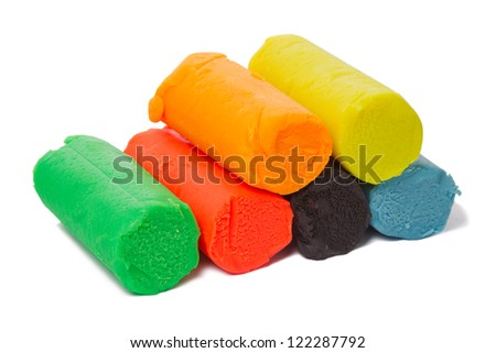 A set of six colors of Modeling clay. Modeling and design for children.