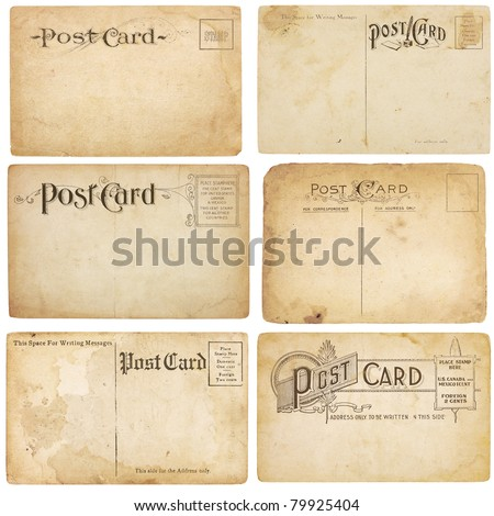 A set of six heavily aged but unstamped post cards from early 1900s. Postcards are blank with room for your text and images. Isolated on white with clipping paths. - stock photo