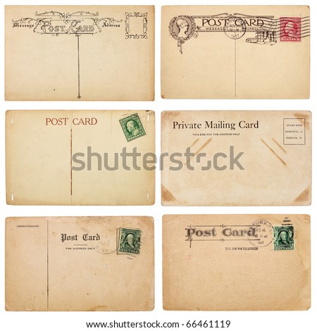 A set of six mildly heavily distressed vintage from early 1900s. Postcards are blank with room for your text and images. Isolated on white with clipping paths. - stock photo