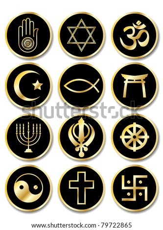 A set of stickers - Religious symbols. Gold isolated on black. Also available in vector format. - stock photo