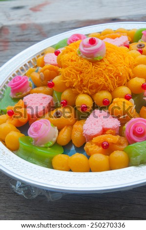 A set of Thai traditional dessert which usually use in Thai wedding ceremony. - stock photo