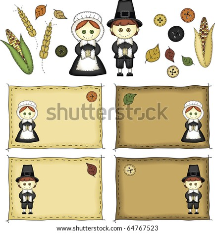 a set of Thanksgiving icons and pilgrims in folk art style - stock photo