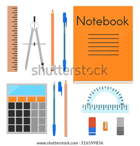 A set of things needed for study. Pencils, pens and erasers in two variations, notebook, calculator, eraser, sharpener, ruler, protractor. - stock photo