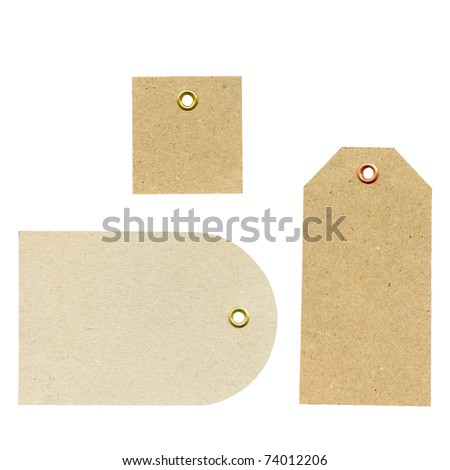 A set of three blank new brown rough paper tags, used for selling clothes etc., isolated on white background, highly detailed - stock photo