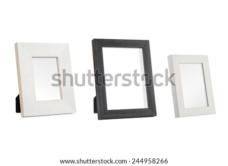 A set of three desk photo frames - stock photo