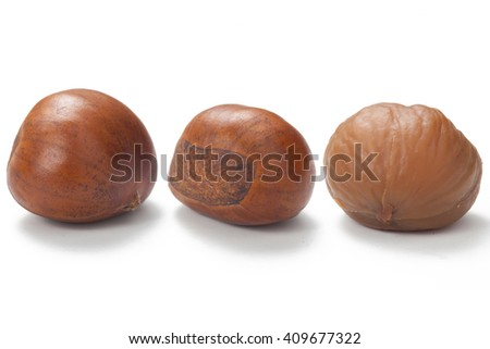 A set of three fresh Chinese chestnut isolated on white background. - stock photo