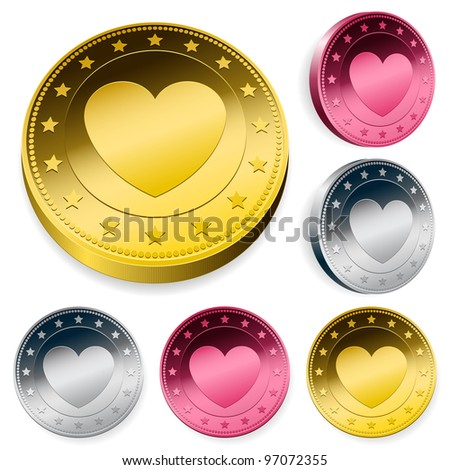 A set of three round love coins or tokens with a central heart in gold, silver and bronze in two orientations - stock photo