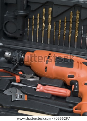A set of tools in a special box close-up - stock photo