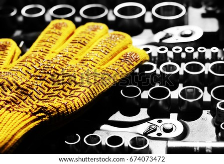A set of tools with gloves