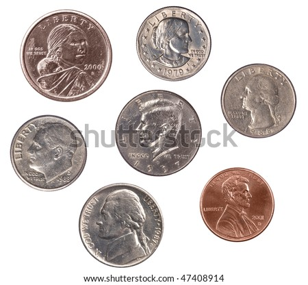 A set of U.S. coins isolated on white.