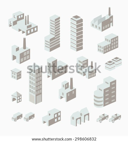 A set of urban and industrial buildings in the isometric - stock photo