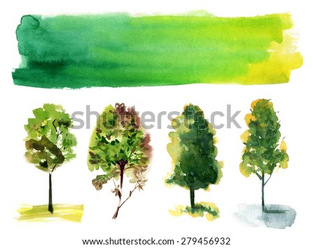 A set of various watercolour trees on white background with a banner for text - stock photo