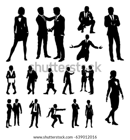 A set of very high quality business people silhouettes