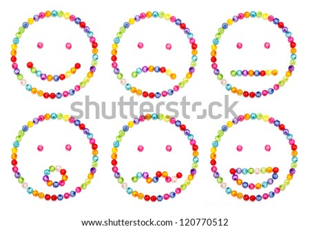 A set of very original emoticon  decorate by colorful beads on white background - stock photo