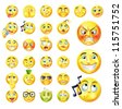 A set of very original emoticon or emoji icons representing lots of reactions, personalities and emotions - stock vector