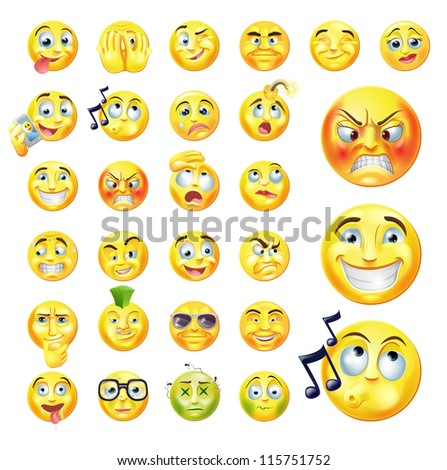 A set of very original emoticon or emoji icons representing lots of reactions, personalities and emotions - stock photo