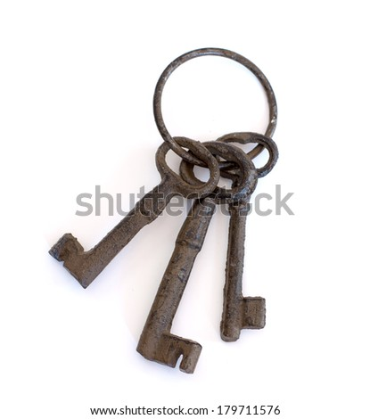 A set of vintage keys on white background (isolated)