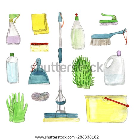 A set of watercolor cleaning Icons on white background - stock photo