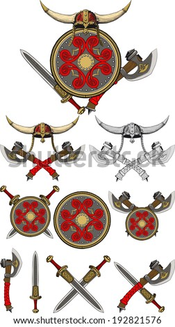 A set of weapons and equipment Viking. Horned helmet, shield, swords axes.  - stock photo