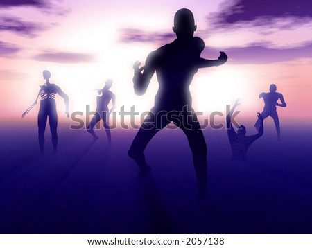 A set of zombies emerging from the ground with a atmospheric background. - stock photo