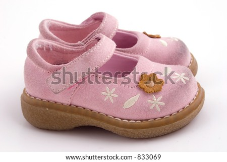 a set pink baby shoes - stock photo