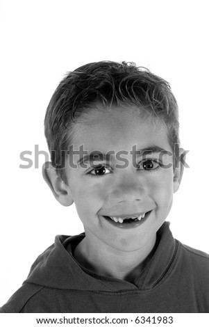 a seven year old boy without two teeth