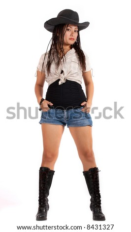 A sexy cowgirl over a white background