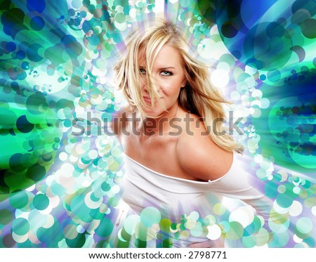 a sexy girl is wearing white against energetic background - stock photo