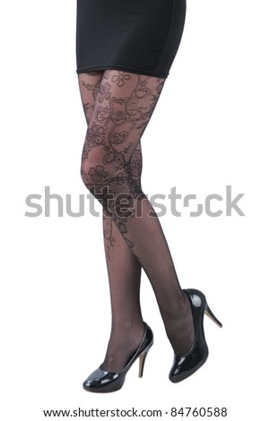 A sexy woman in high heels shoes and beautiful black stocking - stock photo