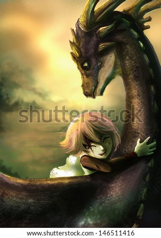 A shabby girl is hugging her dragon with happiness. This is a fantasy drawing - stock photo