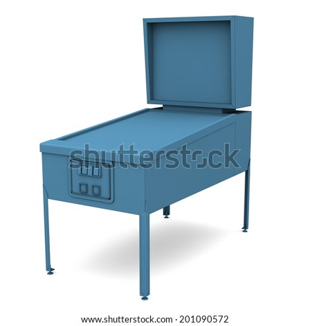 A shaded rendering of a vintage pinball machine in blue on white - stock photo