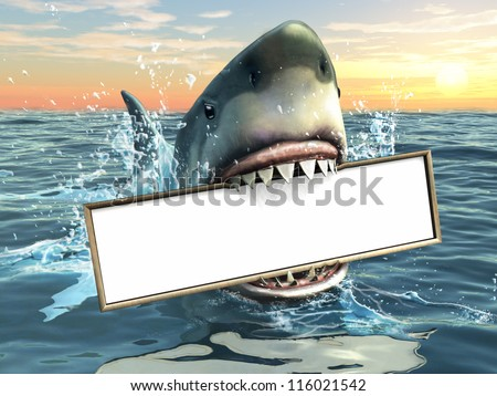 A shark holding a billboard in his mouth. Copy-space available to insert your own text/images. Digital illustration. - stock photo