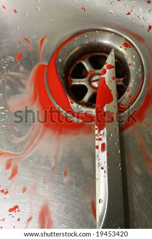 A Sharp bloody knife in a stainless steel sink. Illustrative styled image evocative of a murder scene, washing away the evidence down the sink. - stock photo
