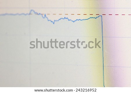 A sharp drop of stock chart for finance concept. - stock photo