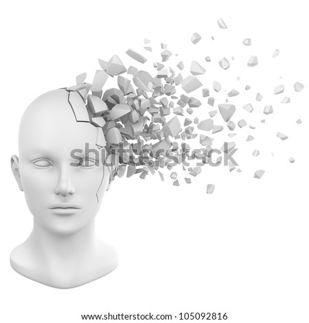 a shattered human head model from the front view. - stock photo