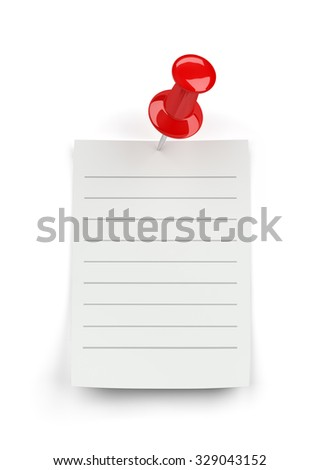 A sheet of paper tacked button. 3d image. White background.