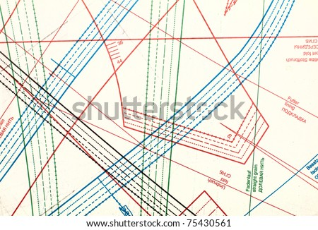 A sheet of professional clothing patterns. - stock photo